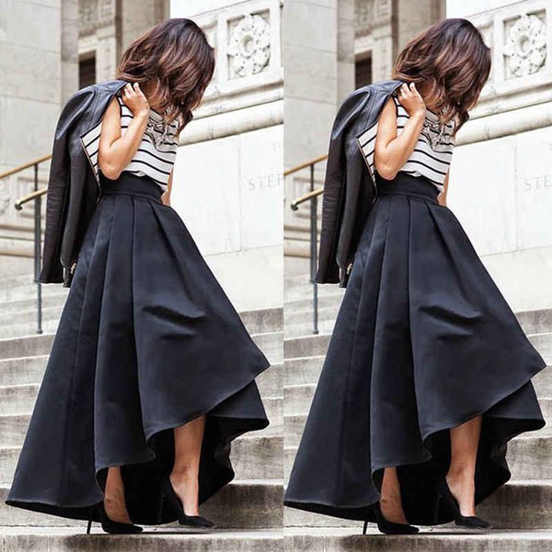551596da21 Fashion Women Vintage Stretch High Waist Skater Flared Pleated Maxi Long Skirt  Formal Black Skirt