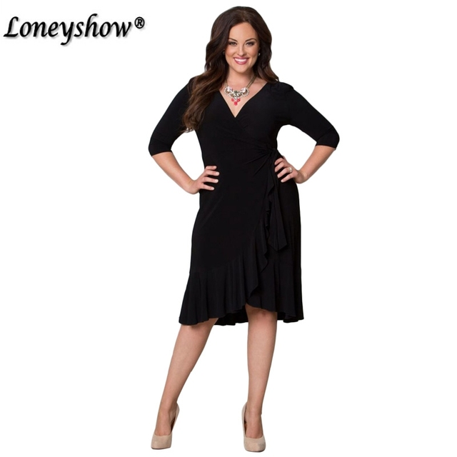355b6af2e68 2018 New Plus Size Women Casual Half Sleeve Formal Cocktail Solid Swing  Dress summer Amazing hot sale Curve Clothing