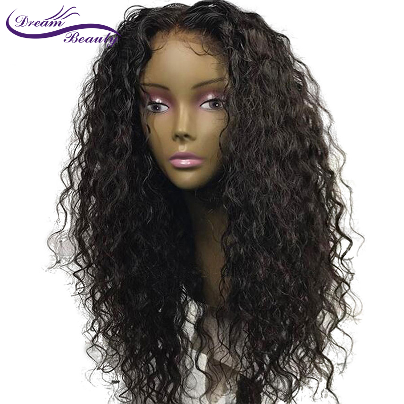 130% Density Lace Frontal Wig Pre Plucked With Baby Hair Dream Beauty Hair Brazilian Remy Curly Human Hair Lace Front Wig