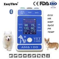 EasyThru Animal Medical AM6100 including SpO2 blood pressure pulse rate ECG respiration temperature monitor Veterinary Equipment