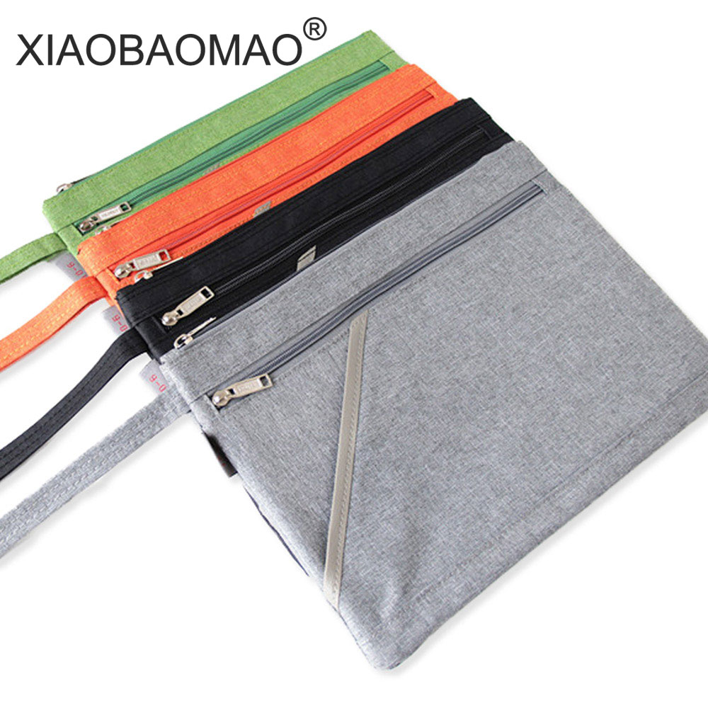 XIAOBAOMAO Zipper file bags A4 Size Canvas Document Bag for Offices Supplies School 3 layer large capacity and handle design school portable hand strap zipper closure files document bag black