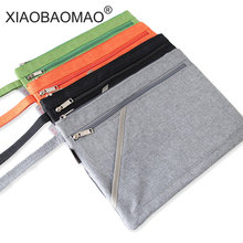 Купить с кэшбэком XIAOBAOMAO Zipper file bags A4 Size Canvas Document Bag for Offices Supplies School 3 layer large capacity and handle design