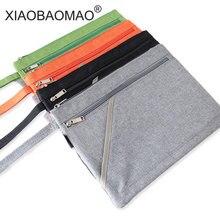 Продажа XIAOBAOMAO молния файл мешки A4 Размеры холста мешок для офисов поставок школы 3 слоя большая емкость и дизайн ручки