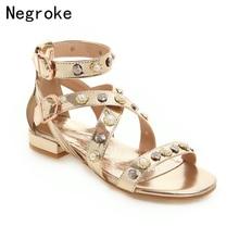 Brand Women Sandals Sexy Gold Silver Pearl Rivet Summer Shoes Woman Beach Flat Luxury Gladiator Sandalias Plus Size 46