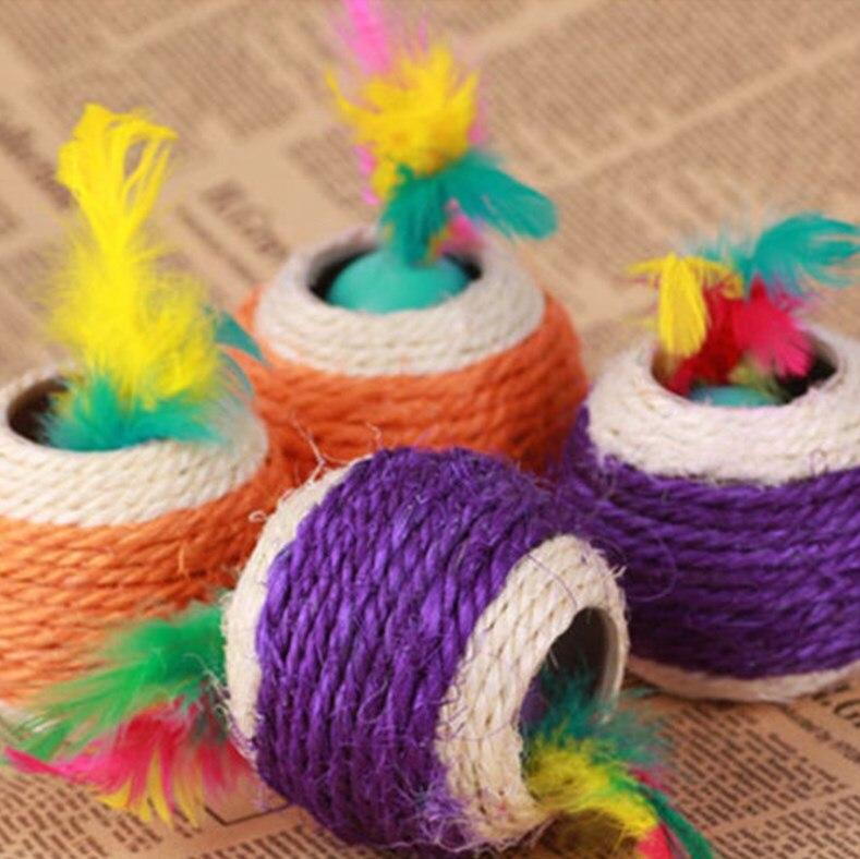 Nueva llegada de gato colorido cuerda de Sisal Chase plumas lindo gatito juguete para hacer ejercicio