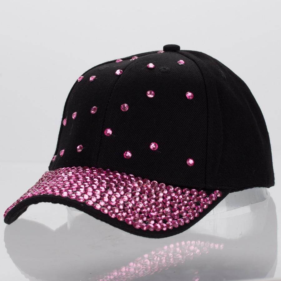 Prix pour Femmes de luxe cap personnalisé conception jet fuchsia cristal perles beauté courbe casquettes de baseball fille femme marque casual snapback chapeaux