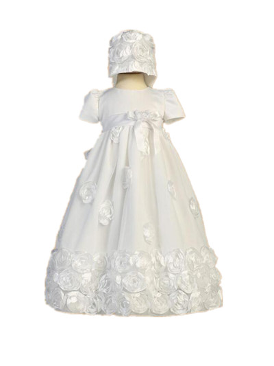 New Heirloom Baby Girl Christening Gown White Ivory Baptism Dress Flower Lace Robe WITH BONNET 0-24 month 2016 retro lace flowers white ivory first communion dress blessing heirloom christening gown with bonnet baby girls baptism robe