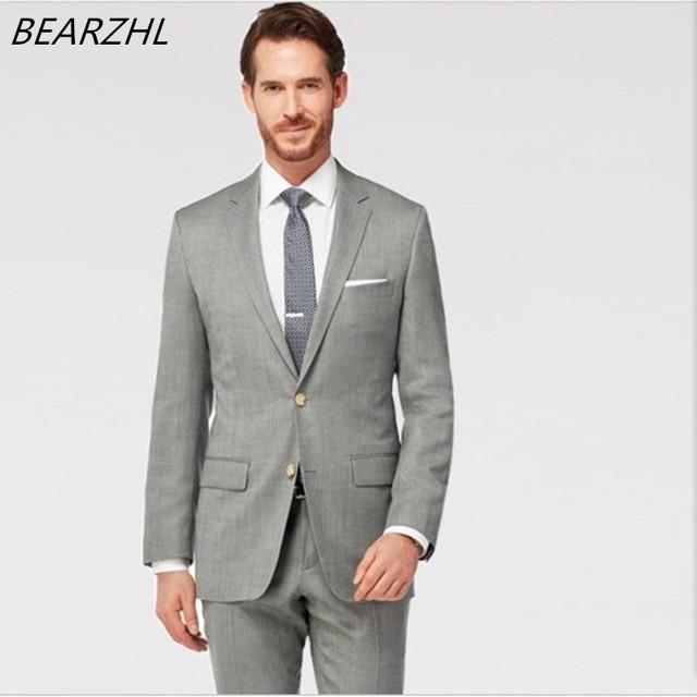 be71663ae51be Trajes de hombre para la boda del novio esmoquin gris claro por encargo  traje clásico desgaste