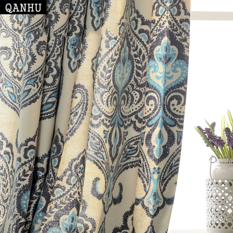 QANHU Newest Folk-custom Blackout Curtain for Bedroom Polyester/Cotton Comfortable Gauze/Curtains Set for the Living Room A-2