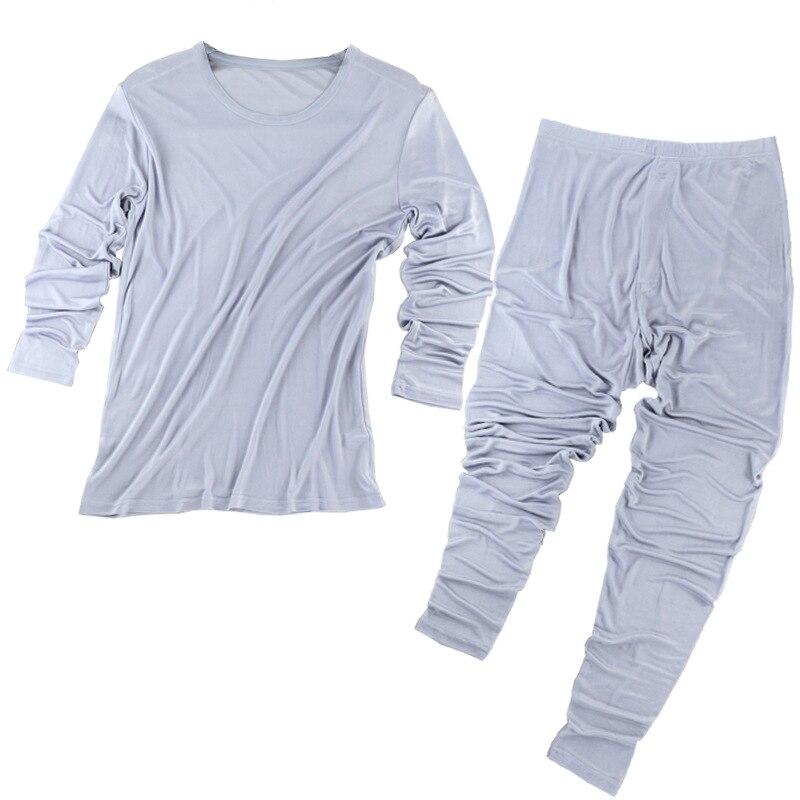 100% seda Otoño e Invierno de alta calidad de seda transpirable sección delgada ropa interior térmica conjunto de Otoño de gran tamaño para hombre ropa Pantalones - 3