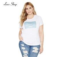 Laceshop Plus Size New Fashion Women Clothing Letter Print O Neck Big Size T Shirt 3XL