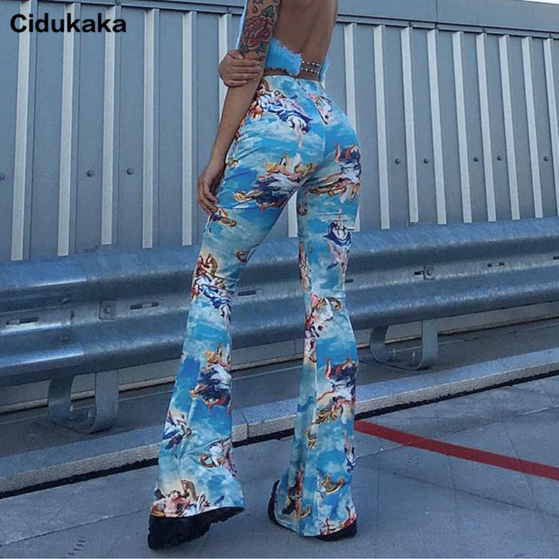Cidukaka Flared   Pants   Women Elastic High Waist Trousers Elegant Printed Casual Bell Bottom   Pants     Capri   Ladies Streetwear 2019