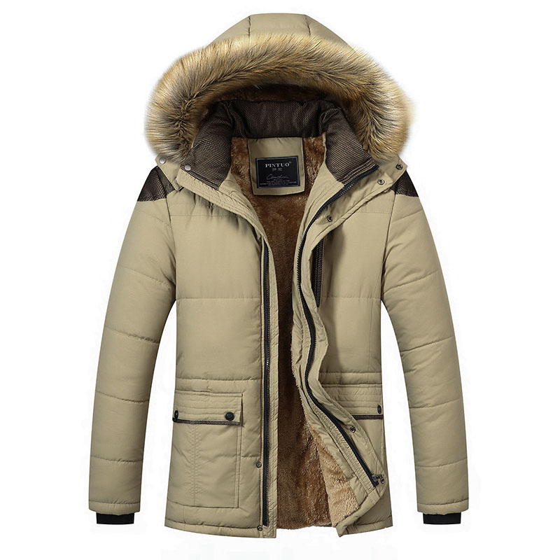 -30 Degree Quilted Jacket Men Winter Parka Homme Thick Warm With Fur Hood Hooded Fleece Cotton Padded Jacket Coat High Quality