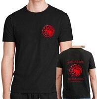 2017 Summer Targaryen Dragon T Shirt Men Fire And Blood Cotton Short Sleeve Stark Wolf Tshirt