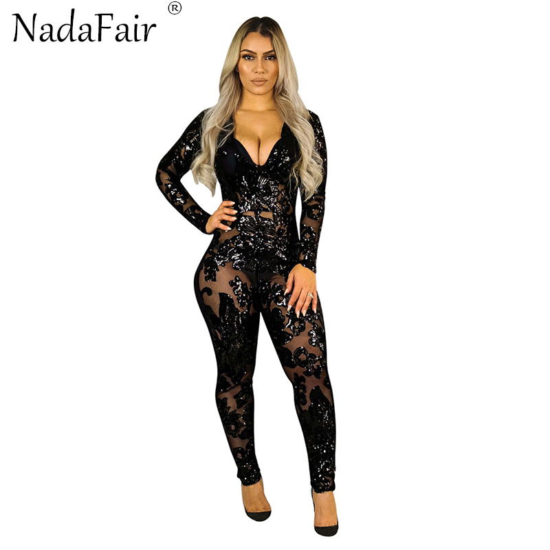 Nadafair Long Sleeve V Neck Black Sequined Sexy Club Party Jumpsuits