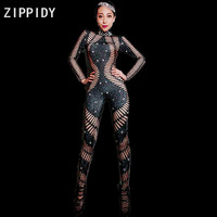 Bright Black Rhinestones Long Sleeves Spandex Jumpsuit Women's Party Bodysuit Evening Outfit Female Singer Stage Dance DS Wear