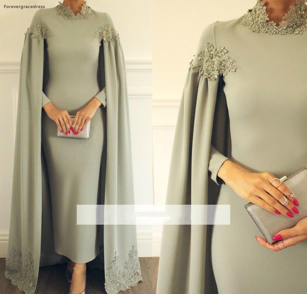 Elegant Mother Of The Bride Dresses Ankle Length With Cape Formal Groom Godmother Evening Wedding Party Guests Gowns Plus Size