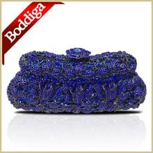 100% handarbeit Frauen Mode Abendtasche Blau Party Geldbörse Kleine Handtasche Lange Kette Dhl-freies