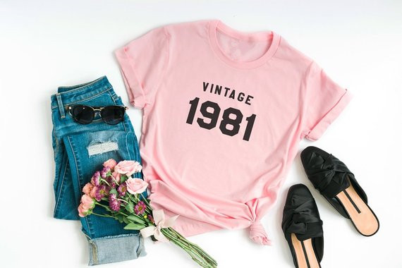 2b2d77aae Sugarbaby Vantage 1981 T shirt 37th Birthday Gift For Her 1981 Birthday  Shirt 80s Clothing Graphic