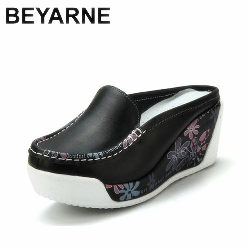 BEYARNE  Genuine Leather Shoes Lady Casual White Wedges Fashion Woman's ShoeS Breathable Single Nurse Thick Bottom Platform