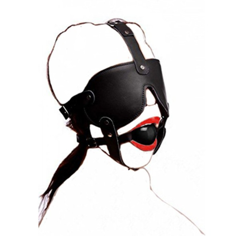 Leather Black Rubber Mouth Gag BDSM Blindfold Head Harness,Sex Product Mask Restraint Bondage,Adult Sex Toys For Women Couples