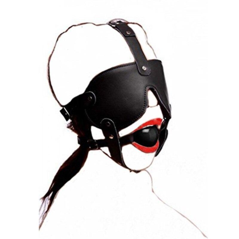 Sex Produkt Maske Restraint Bondage Leder Schwarz Gummi Mund Gag Bdsm Augenbinde Kopf Harness Erwachsene Sex Spielzeug Für Frauen Paare