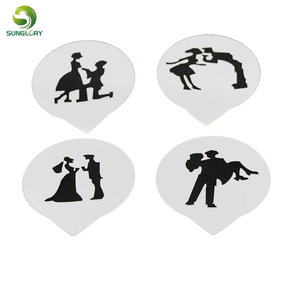 ⊹4 unids/set fondant cake stencils amor romántico dinero sonrisa ...