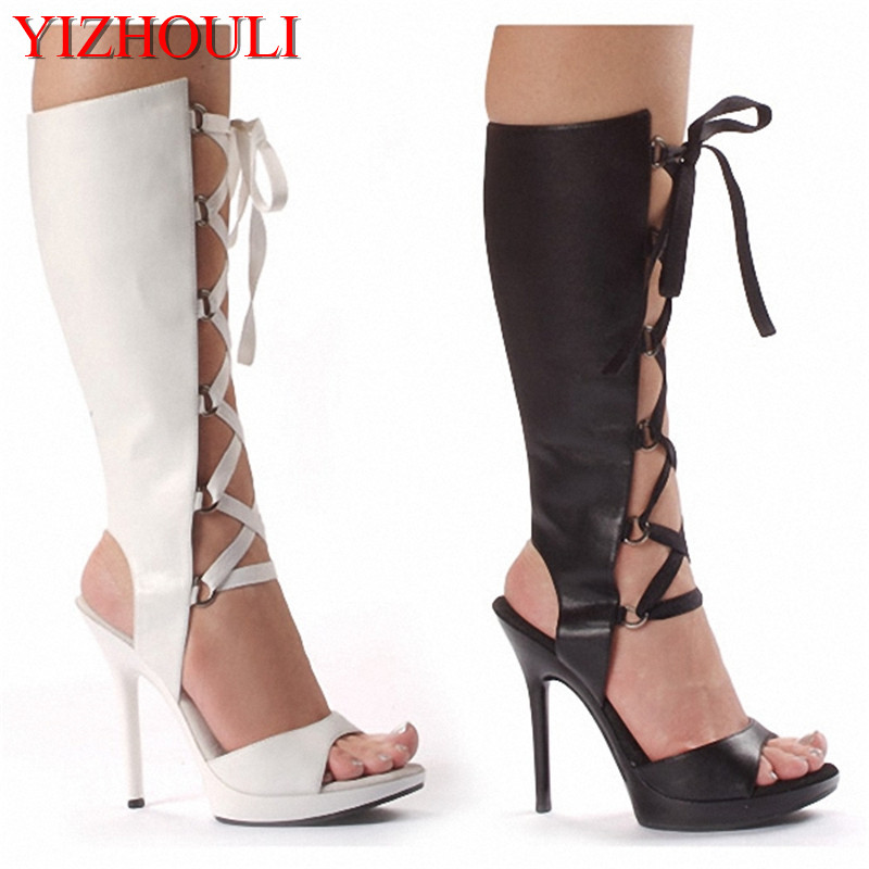 performance shoes 13cm high-heeled shoes sexy boots back strap open toe shoes women Summer boots spaghetti strap chiffon open back dress