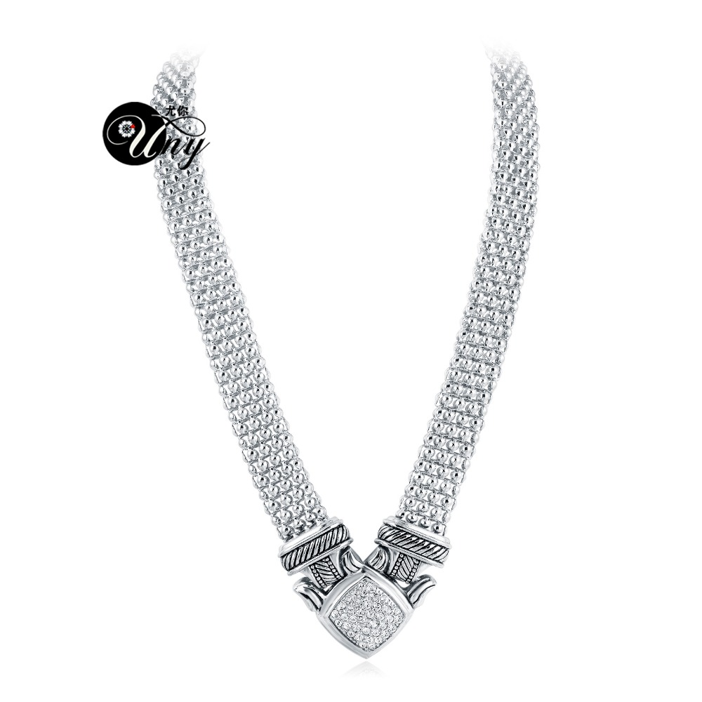 UNY designer Inspired Short Necklace 48cm magnetic claps Popcorn chain Pave Rhinestone Classic Elegant Vintage Antique Jewelry