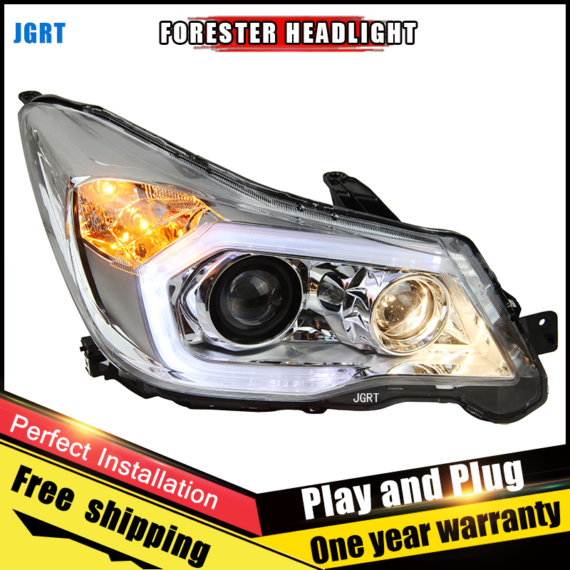 Car Style LED headlights for Subaru Forester 13-14 for Forester head lamp LED DRL Lens Double Beam H7 HID Xenon bi xenon lens for volkswagen polo mk5 vento cross polo led head lamp headlights 2010 2014 year r8 style sn