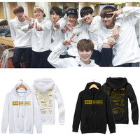 BTS Bangtan New Layer children KPOP Hot Spring College Lovers Unisex Letters printed hoodies black Cotton White Coverage
