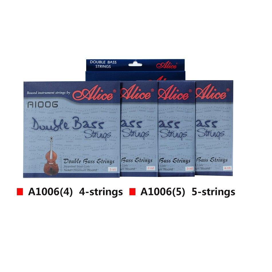 Alice Double Bass Strings A1006 5 Corde in Acciaio Intrecciato Core Ni Cr Avvolgimento Nichel Placcato Palla End Adatto per 3/4 Double Bass - 3