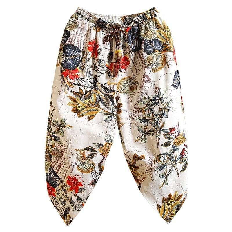 Tracksuit Leg-Trousers Harem-Pants Linen Punk Male Mens Summer Calf Wide Bloomers Hip-Hop