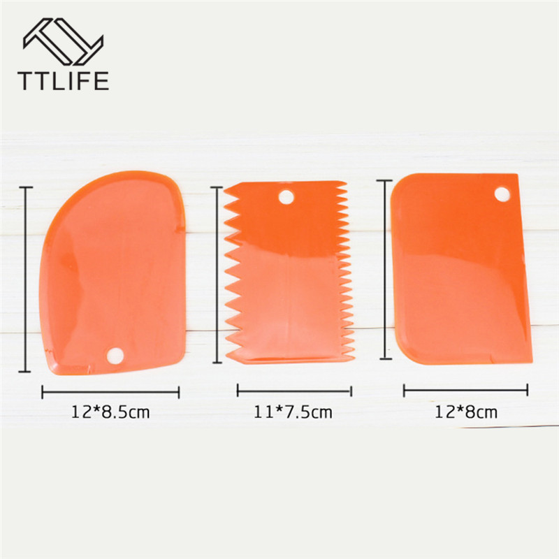 TTLIFE Cake Tools 3 Piece Cream Scraper Knife Semicircular Sawtooth Trap Cake Dress Fondant Cake Kitchen Tools Cake Scraper Tool