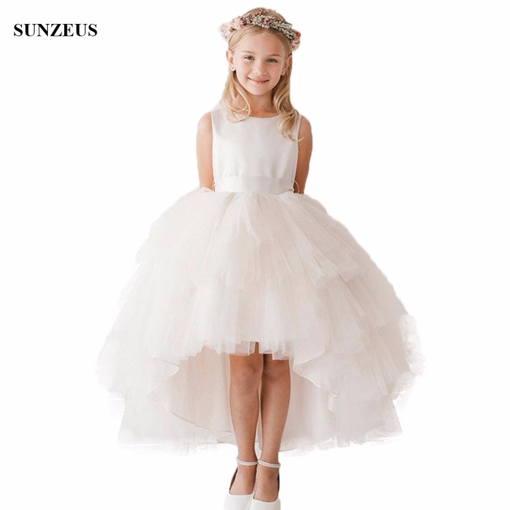 High Low Flower Girl Dress Short Front Long Back Wedding