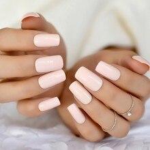 Faux ongles carrés rose sucre, extensions d'ongles longs et moyens à faire soi-même
