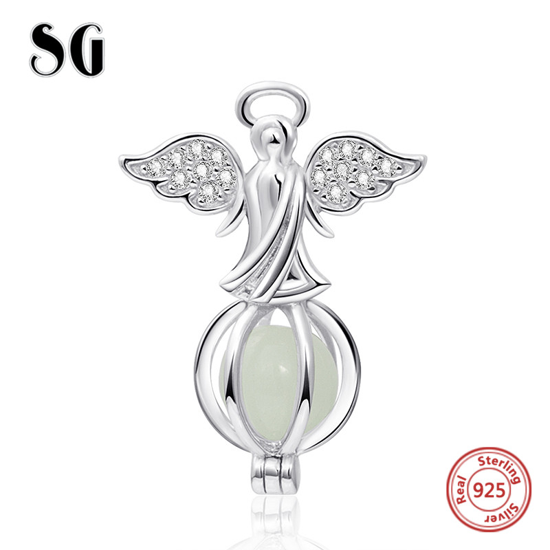 Fit Authentic pandora charms Bracelet glowing angel Pendant beads 925 sterling silver fashion Jewelry making for Women Gifts