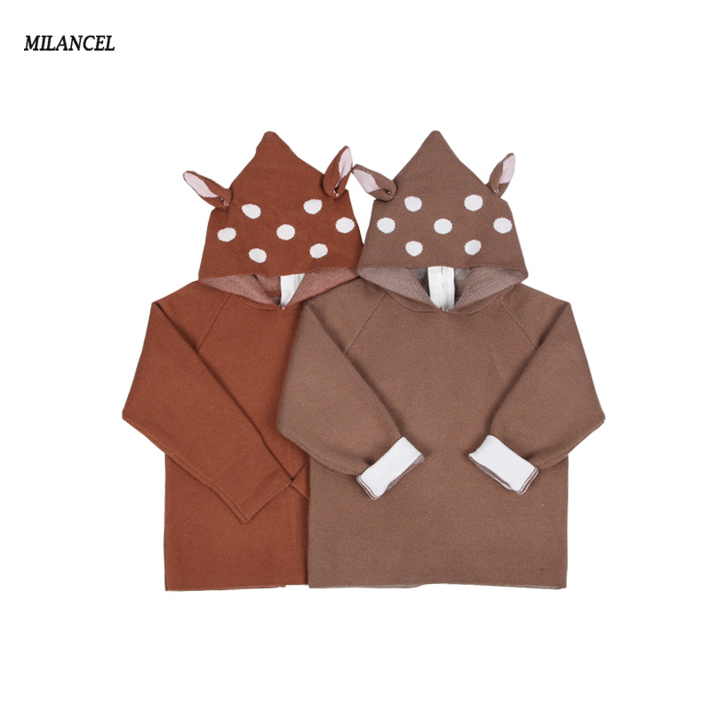Milancel 2017 New Baby Girls Boys Sweaters Hooded Cardigans Toddler Kids Boys Animal Deer Knitted Sweater