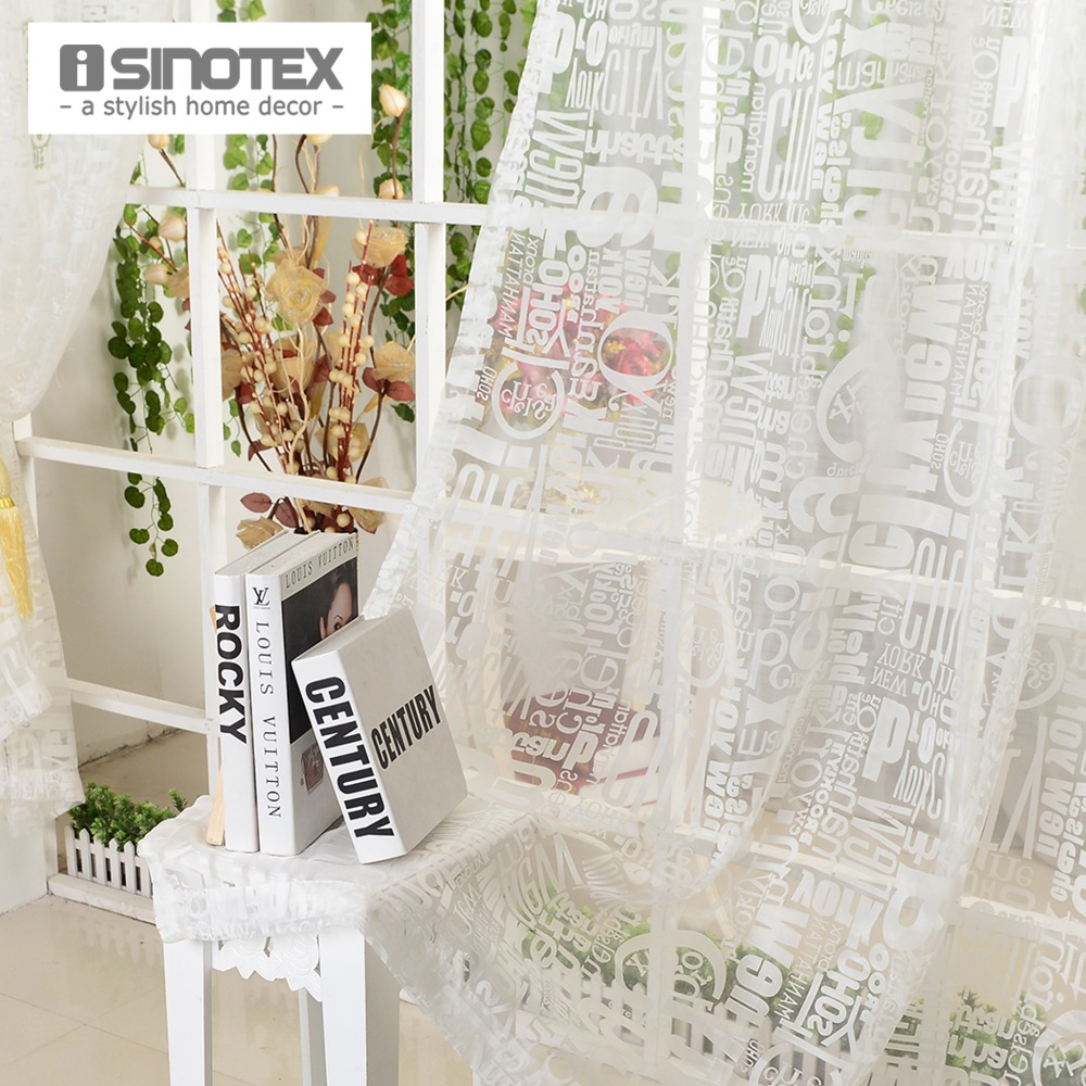 Curtain curtain designing curtain manufacturing fancy curtains - Window Curtain Burnout Tulle Voile Fabric Transparent Sheer Letter Printed Home Decoration Screening Curtains For Living