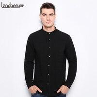 Top Grade 2017 New Fashion Brand Clothing Mens Shirt Black Shirt Slim Fit Mandarin Collar Casual