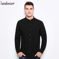 Top Grade 2017 New Fashion Brand Clothing Mens Shirt Black Shirt Slim Fit Mandarin Collar Casual