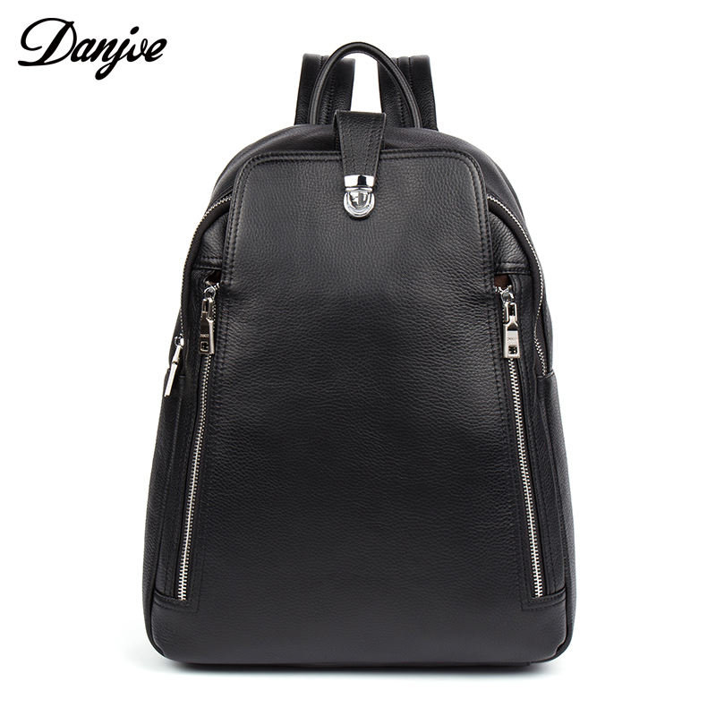 DANJUE Genuine Leather Backpack For Man Fashion Famous Brand High Quality Male Casual Boys School Black Anti Thief Travel Bag
