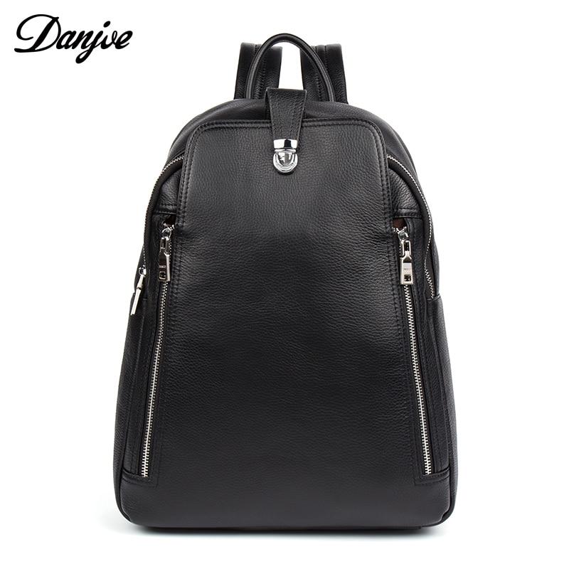 DANJUE sac à dos en cuir véritable pour homme mode célèbre marque de haute qualité décontracté garçons école noir Anti voleur sac de voyage
