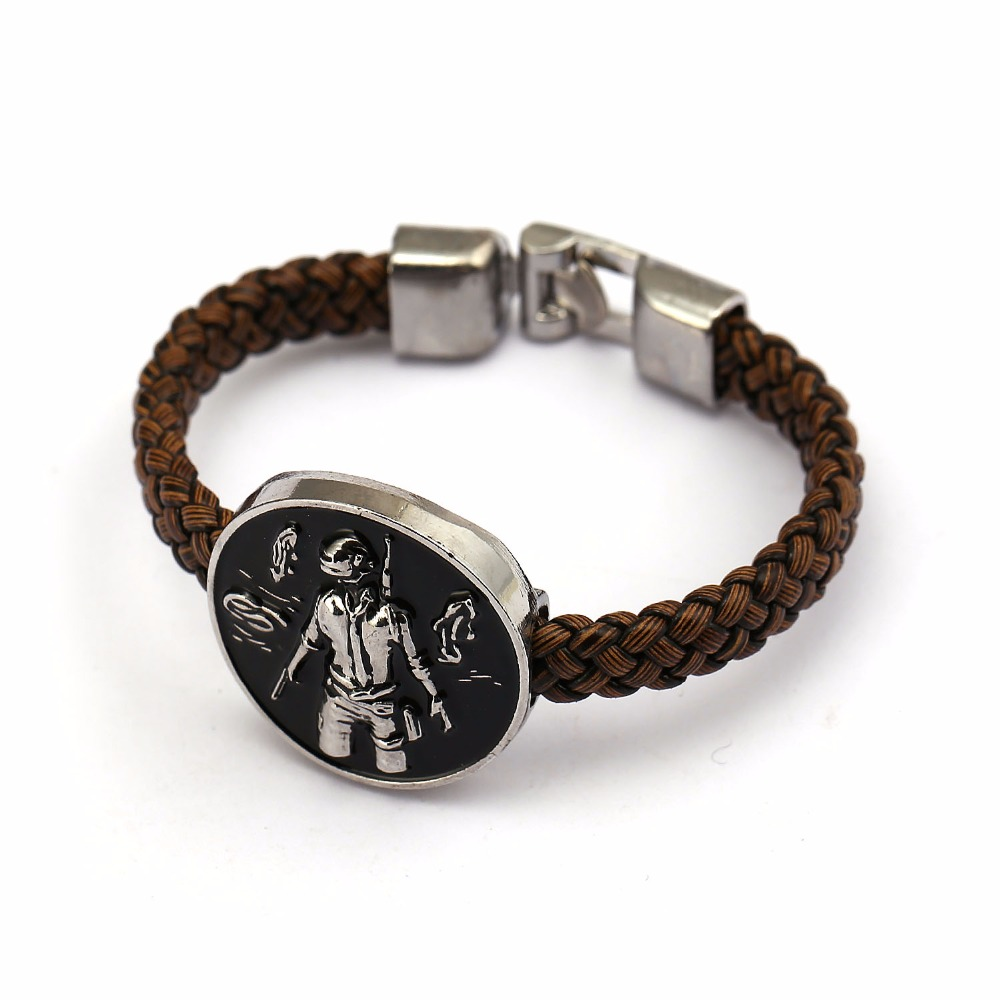 GWTS Playerunknowns Battlegrounds Bracelet PUBG Logo Figure Pan Leather Braided Bangle Charms Wristband