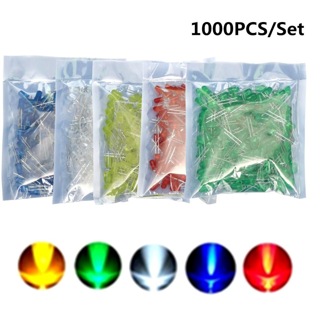 1000Pcs 5mm LED Blue Green Yellow Red White Round LED Diode Mixed Color Kit 5 Colors