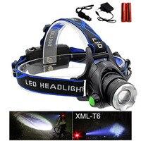 Hot Rechargeable CREE XML T6 200Lumens Zoom Head Lamp LED Headlamp 18650 Battery 4200mAh LED Headlight