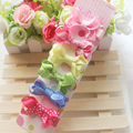 F29 Baby girls Ribbon Hairbows Candy Color Dot Print Snow yarn  Bow Hairpin Hair Clips kids hair accessories 6Pcs /SET
