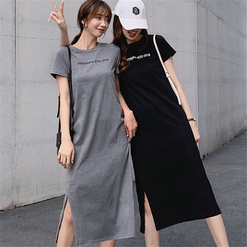 T-Shirt Dress Female 2019 Summer Fashion New Casual Cover Belly Loose Long Section Round Neck Short-Sleeved Dress 4XL Plus Size sleeveless round neck plus size short day dress