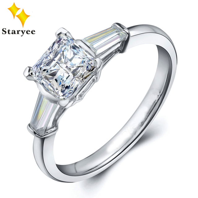 STARYEE Charles Colvard 1CT Princess Cut Moissanite Ring Real Platinum Designer Fine Jewelry For Women 0.3CT Diamond Accents