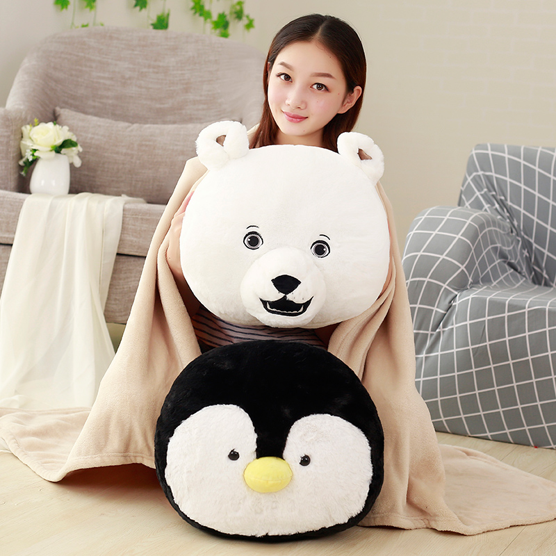 Lovely Cartoon Animal Plush Pillow Hand Warmer Staffed Penguin Polar Bear Toy Doll Cute Soft Pillow Blanket Cushion Christmas lovely giant panda about 70cm plush toy t shirt dress panda doll soft throw pillow christmas birthday gift x023